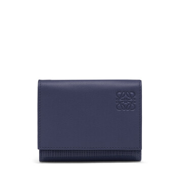 LOEWE Linen Trifold Wallet 海军蓝 front