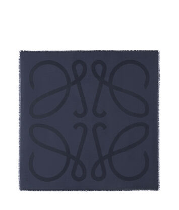 LOEWE 140X140 Scarf Giant Anagram Marine Azul front