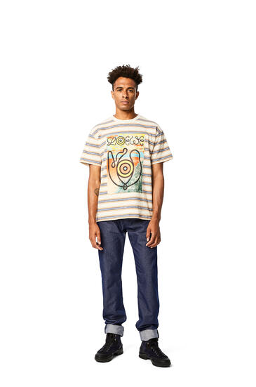 LOEWE T-shirt in striped cotton Blue/Orange pdp_rd