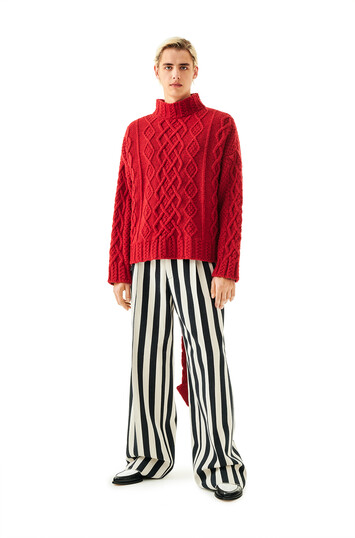 LOEWE Stripe Pleated Trousers White/Black front