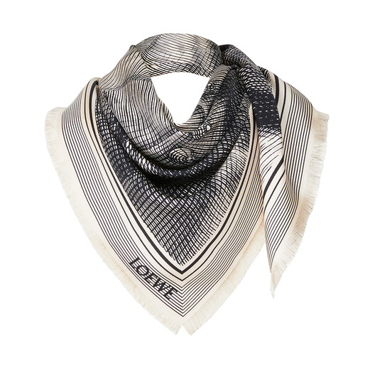 LOEWE 90X90 Scarf Cameo Gris front