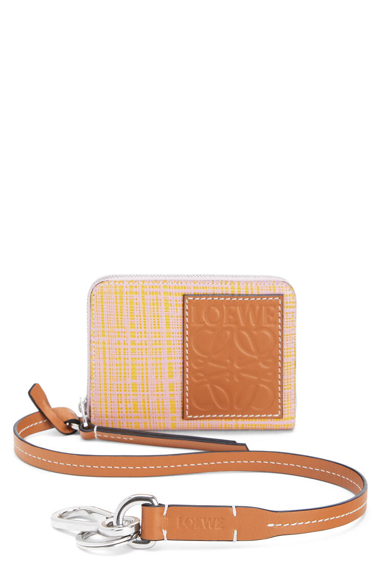 LOEWE 6 cards wallet in textured calfskin Yellow/Pink pdp_rd