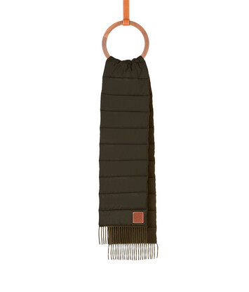 LOEWE 26X226 Padded Scarf Nylon Verde Oscuro front