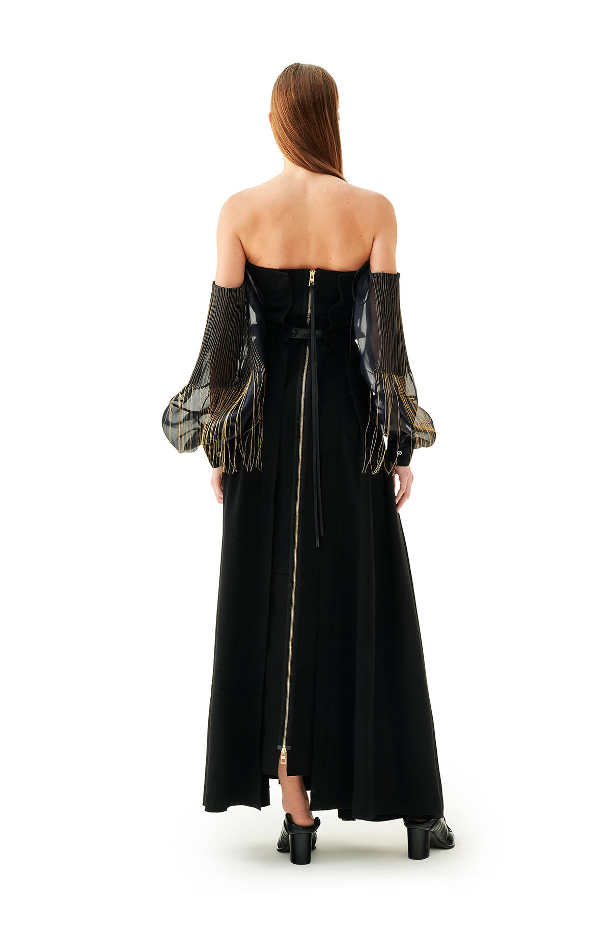 LOEWE Off Shoulder Ball Grown Dress Negro front