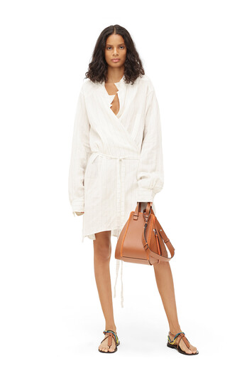 LOEWE Paula Stripe Wrap Shirtdress Blanco Roto front