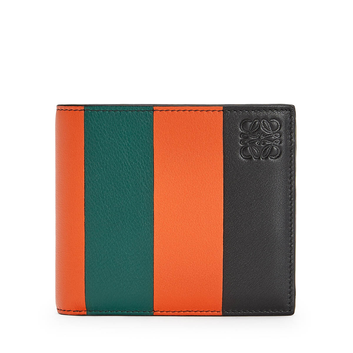 LOEWE Stripes Bifold Wallet オレンジ/グリーン front