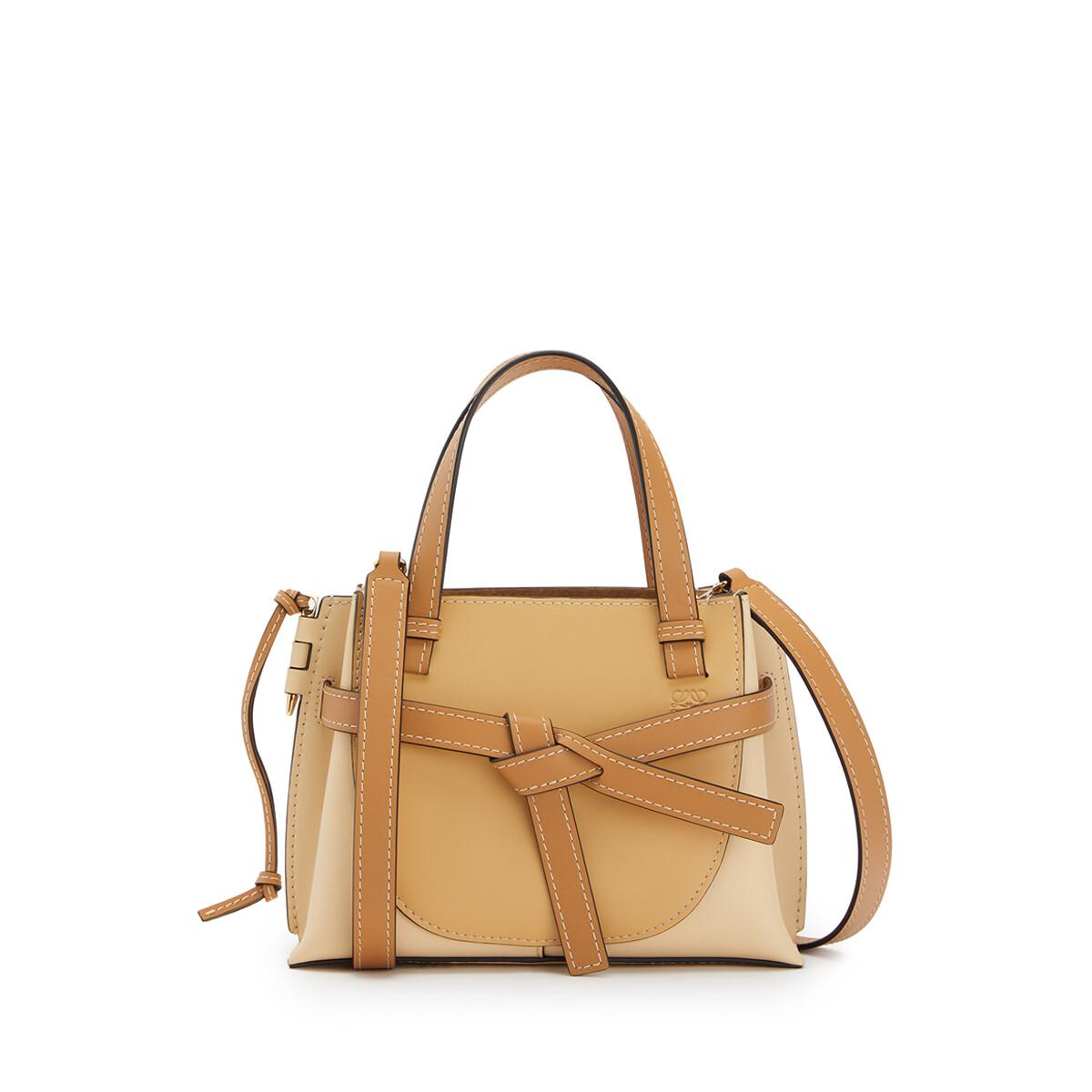 LOEWE Gate Top Handle Mini Bag Dune/Vanilla front