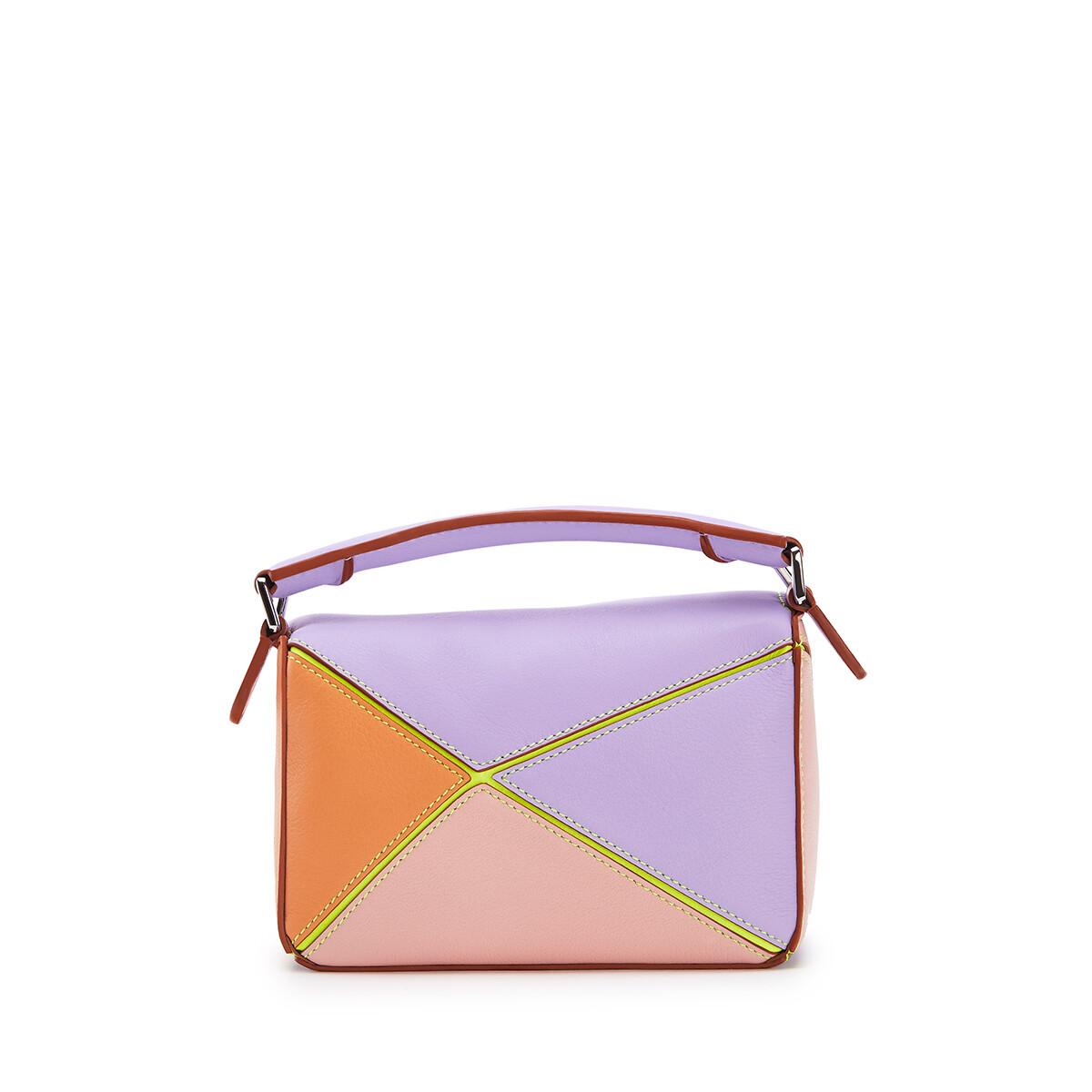 LOEWE Mini Puzzle Bag In Classic Calfskin Mauve/Soft Apricot front