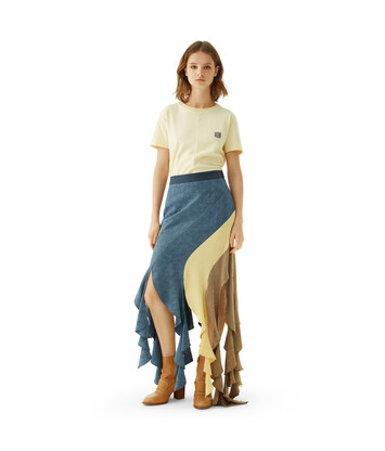 LOEWE Curl Skirt Jacquard Blue/Multicolor front