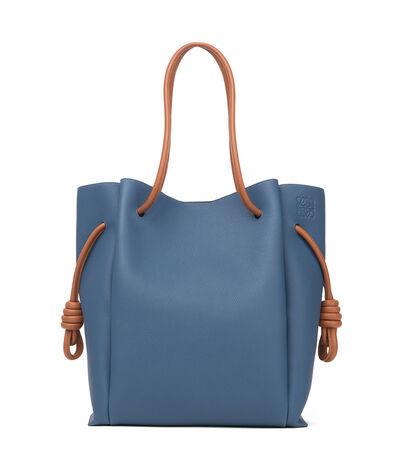 LOEWE Flamenco Knot Tote Bag Varsity Blue/Tan front