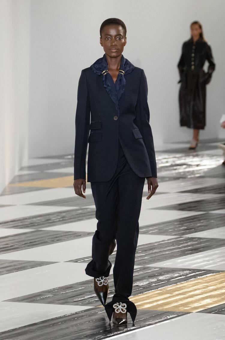LOEWE Jacquard shawl collar jacket in wool and viscose Navy Blue pdp_rd