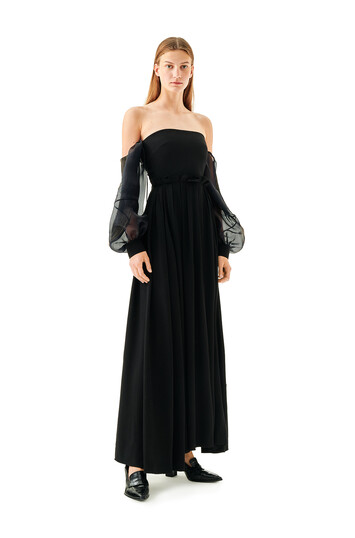 LOEWE Off Shoulder Ball Gown Black front