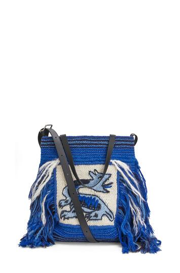 LOEWE Vertical Tote Dragon Knit Bag Blue front