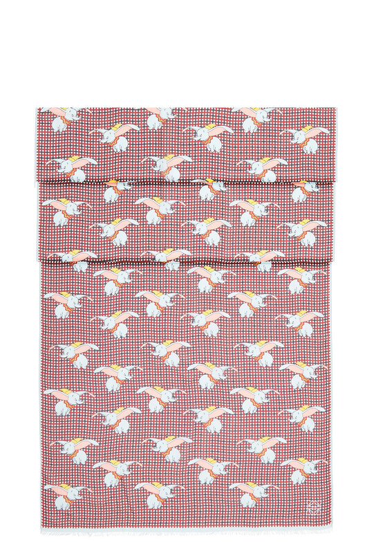 """LOEWE 70X200 Scarf Dumbo All Over Raspberry Instant/Blue """"Ciel D front"""