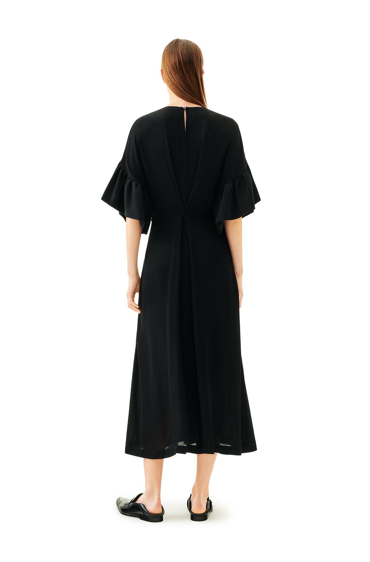 LOEWE Ruffle Sleeve Dress Black front