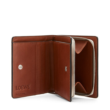 LOEWE Brand Compact Zip Wallet Light Oat/Tan front