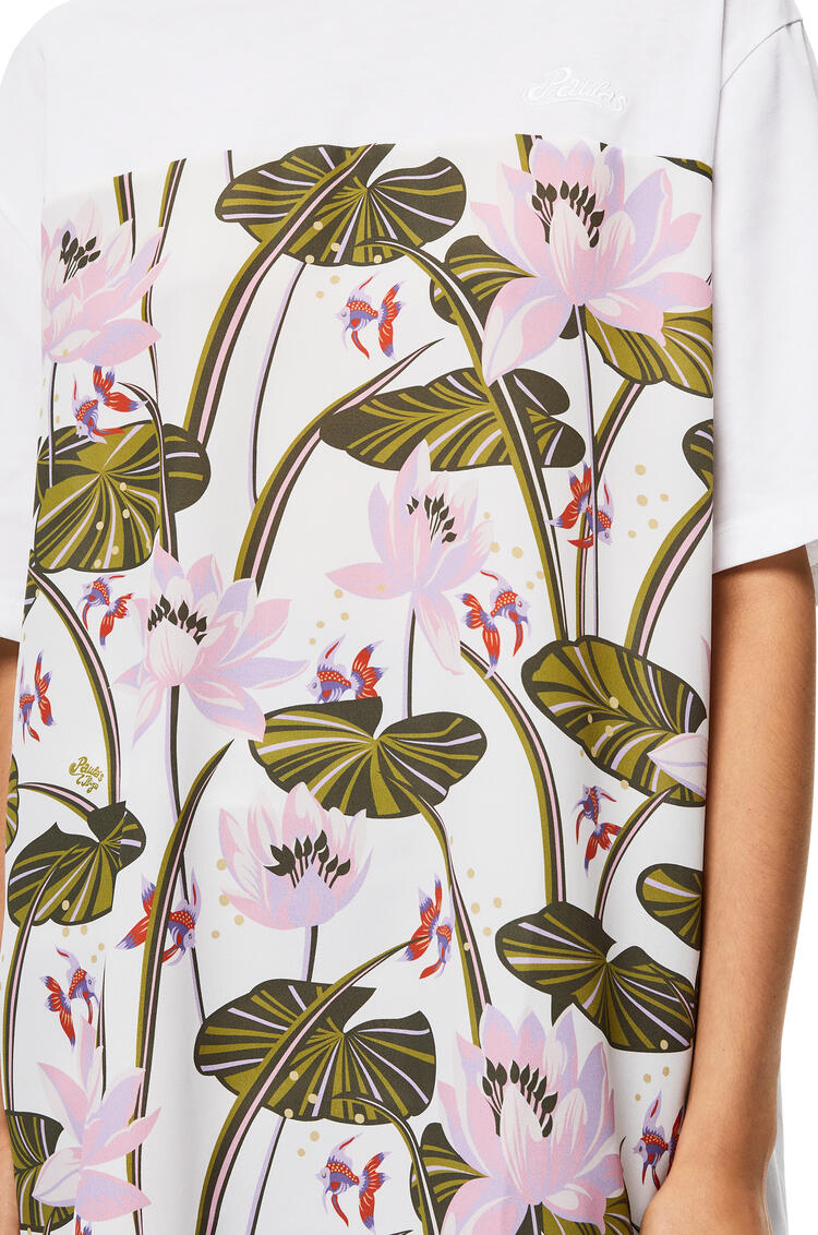 LOEWE Oversize T-shirt in waterlily cotton and silk Pink/White pdp_rd