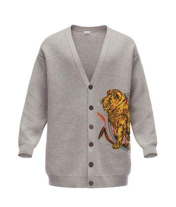 LOEWE Oversize Cardigan Lion Grey front