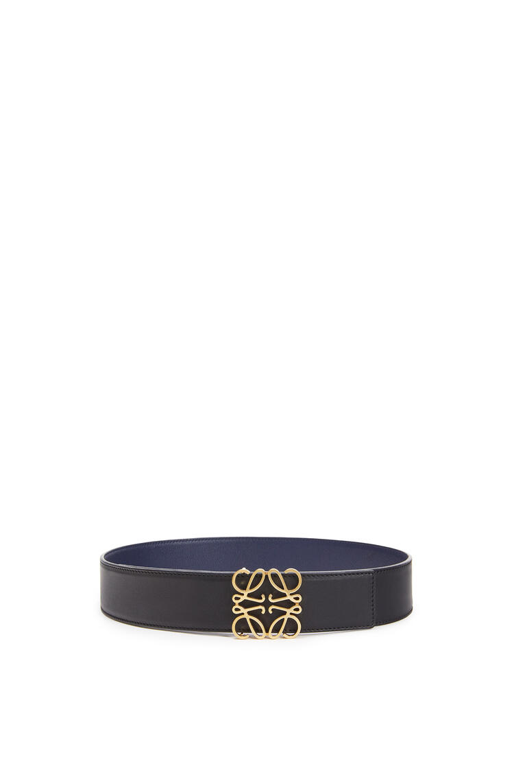 LOEWE Cinturón con anagrama en piel de ternera suave Negro/Marino/Oro pdp_rd