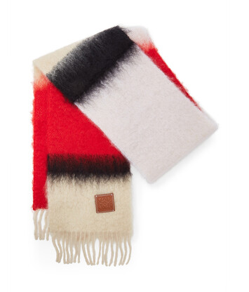 LOEWE 23X185 Scarf Stripes Red/Black front