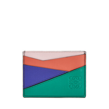 LOEWE Puzzle Plain Cardholder Emerald Green front