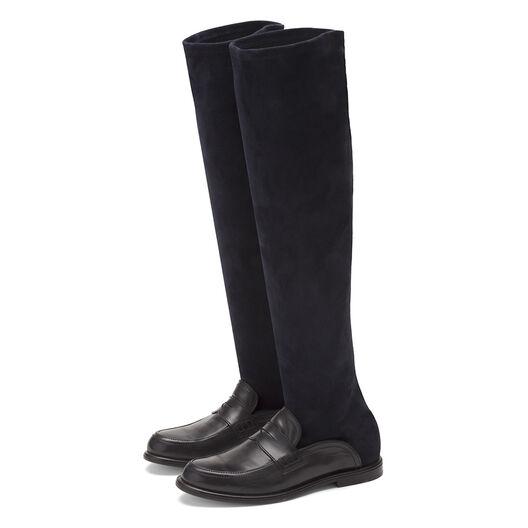 LOEWE Sock Bota Alta Negro/Marino all