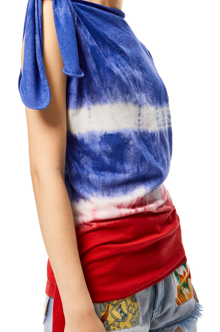LOEWE Asymmetric knot top in tie dye silk and cotton Red/Blue/Black  pdp_rd