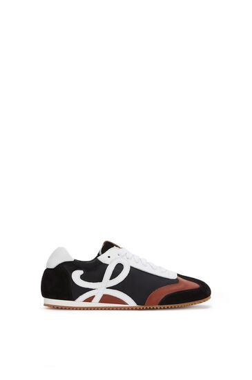 LOEWE Ballet Runner In Leather And Nylon Black/White/Brown pdp_rd