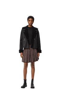 LOEWE Pleated knit mini skirt in wool Burgundy/Navy pdp_rd