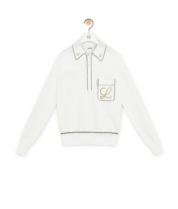 LOEWE Embroidered Poloneck Sweater Ecru front