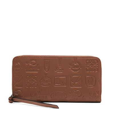 LOEWE Signature Zip Around Wallet Cognac/Duke Blue front