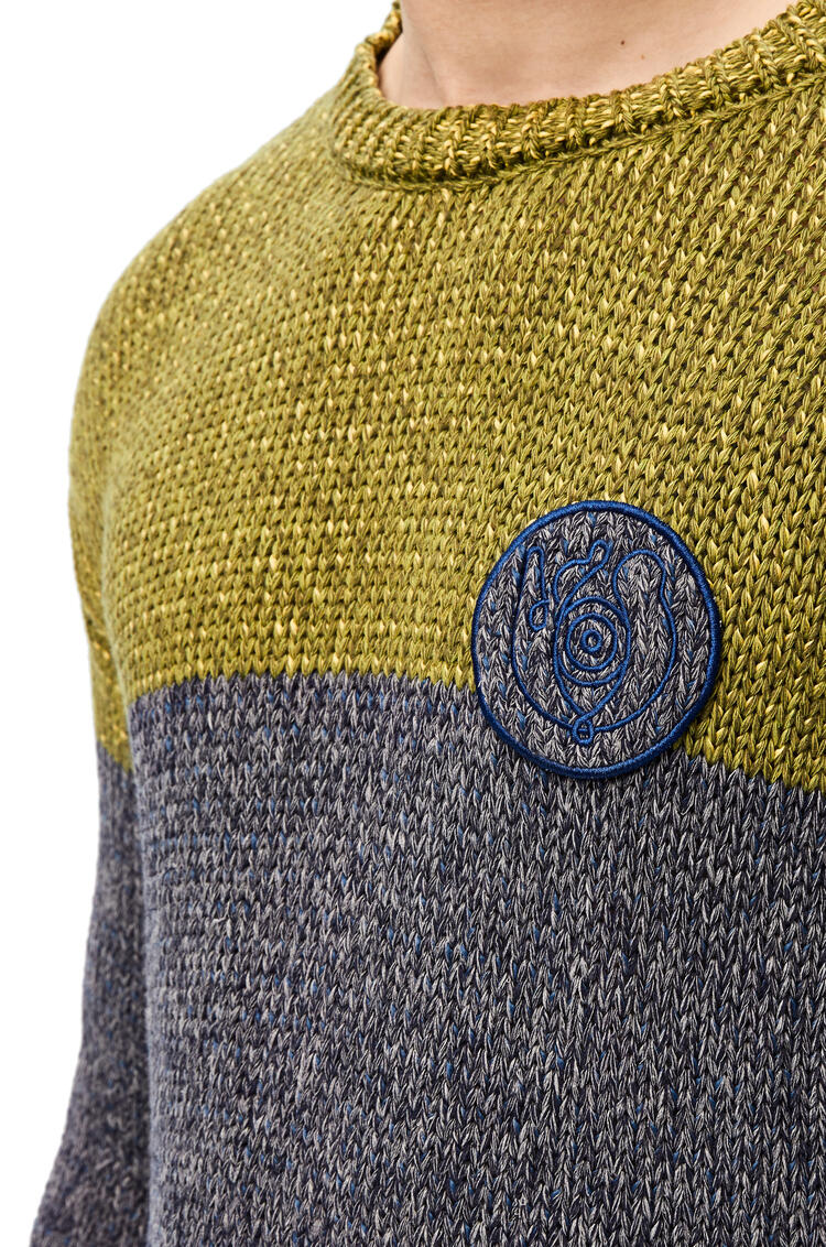 LOEWE Stripe sweater in cotton and polyester Green/Navy Blue pdp_rd