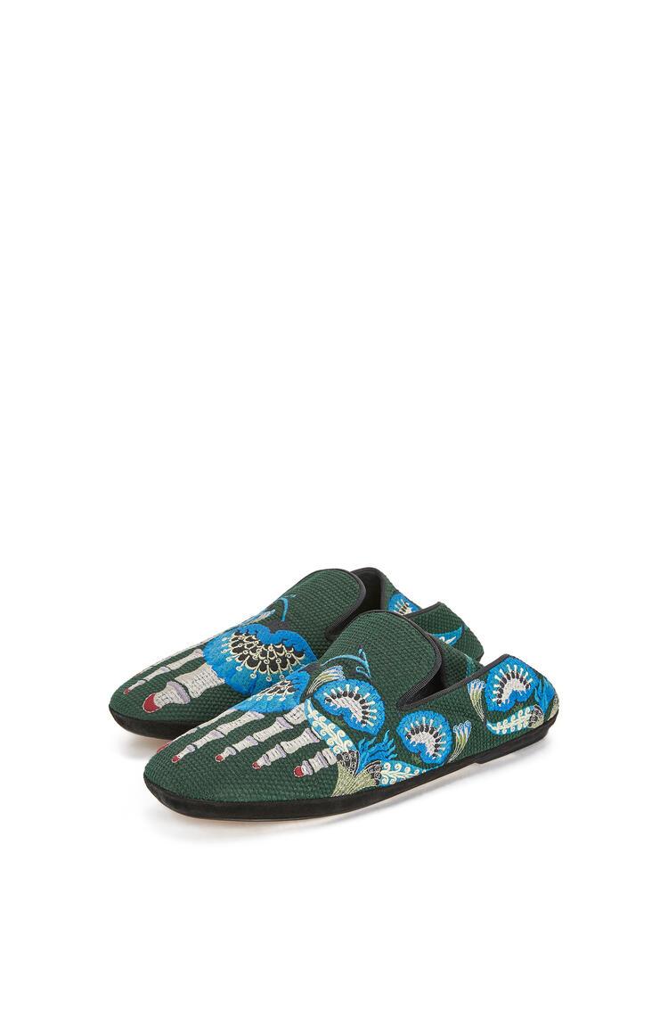 LOEWE Slipper en lona bordada Verde Oscuro/Multicolor pdp_rd