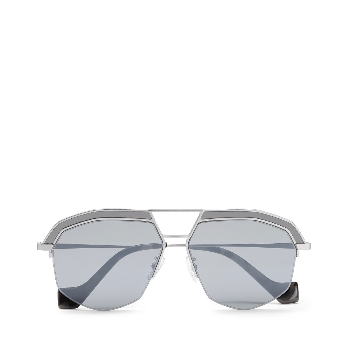 LOEWE Geometrical Sunglasses Mate Rhodium/Grey front
