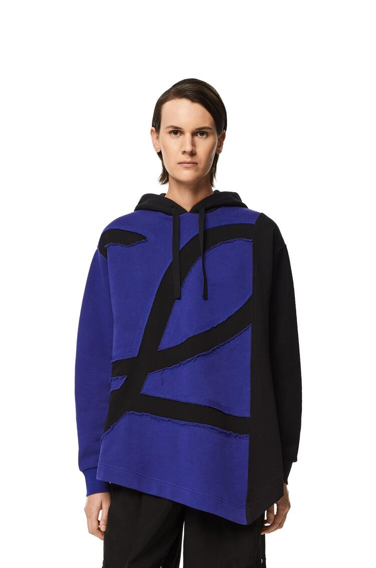 LOEWE Oversize L logo hoodie in cotton and wool Blue/Black pdp_rd