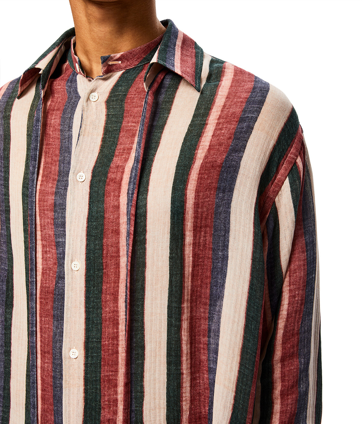 LOEWE Detachable Collar Stripe Shirt Pink/Strawberry/Blue front