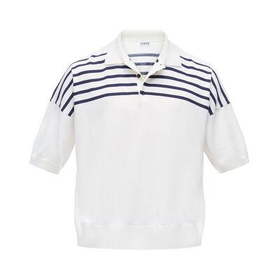 LOEWE ストライプポロシャツ white/blue front
