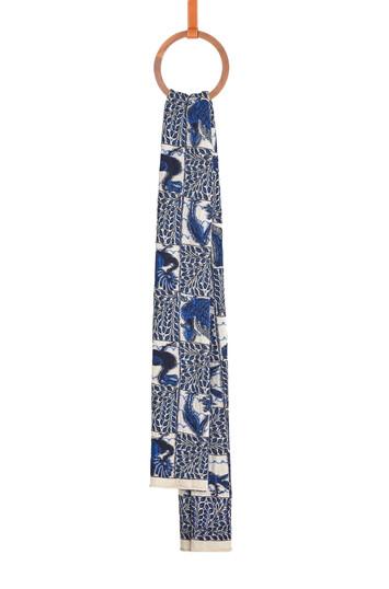 LOEWE 50X230 Knit Scarf Animals Azul front