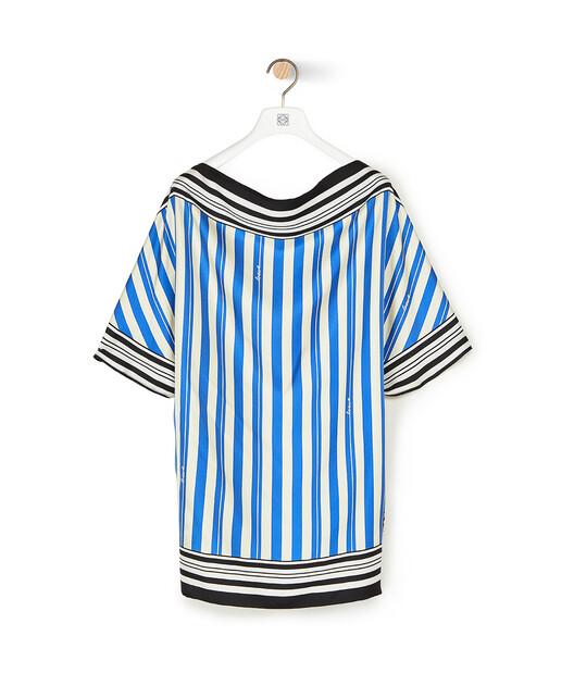 LOEWE Stripe Print Silk Scarf Top Blue/Red/White front