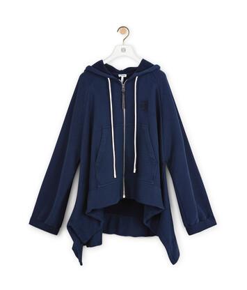 LOEWE Oversize Zip Hoodie Navy Blue front