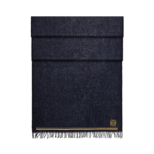LOEWE 60X200 Scarf Anagram Stripes Navy Blue front