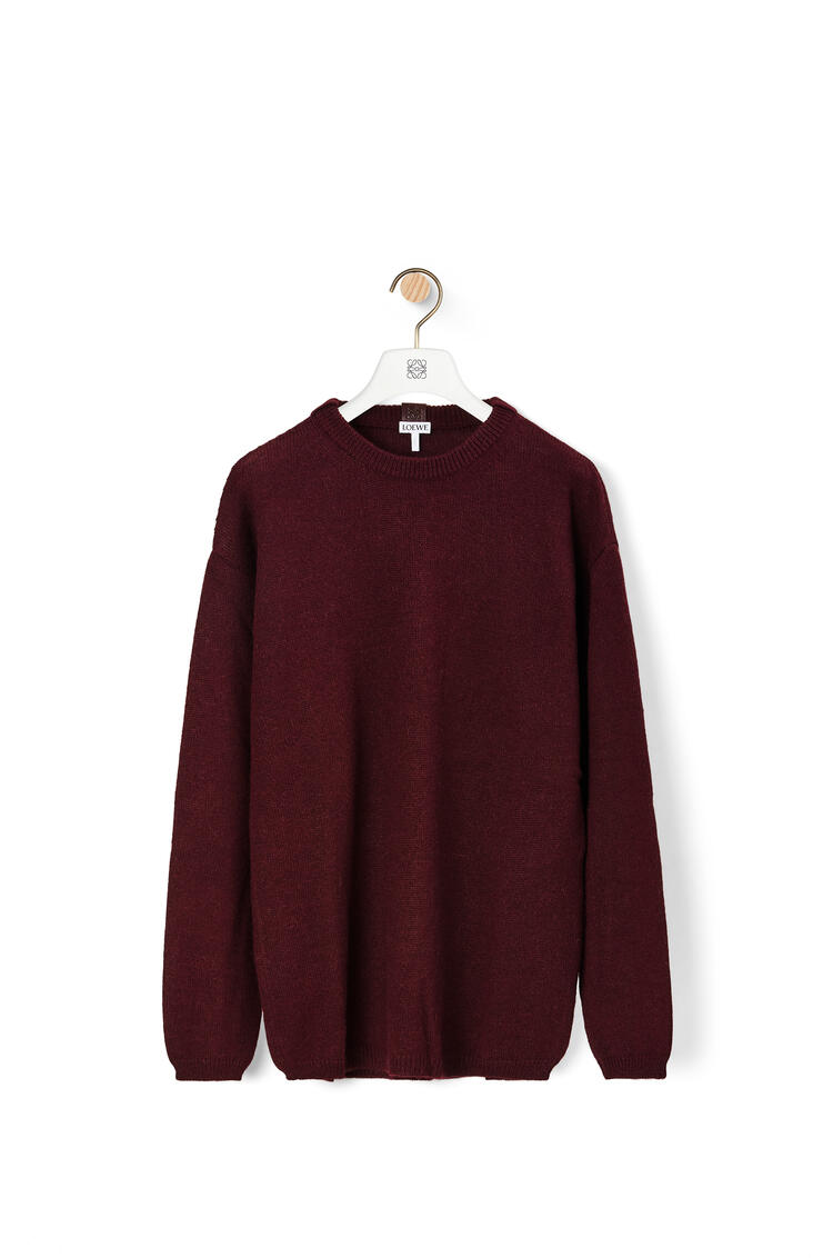LOEWE Jersey de cuello redondo en alpaca y lana Burdeos pdp_rd
