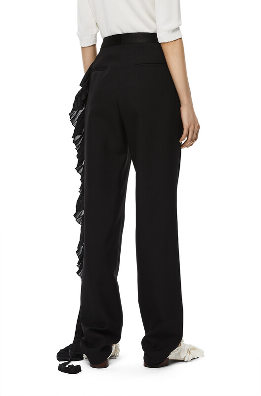 LOEWE Crystal Side Strap Trousers Black front
