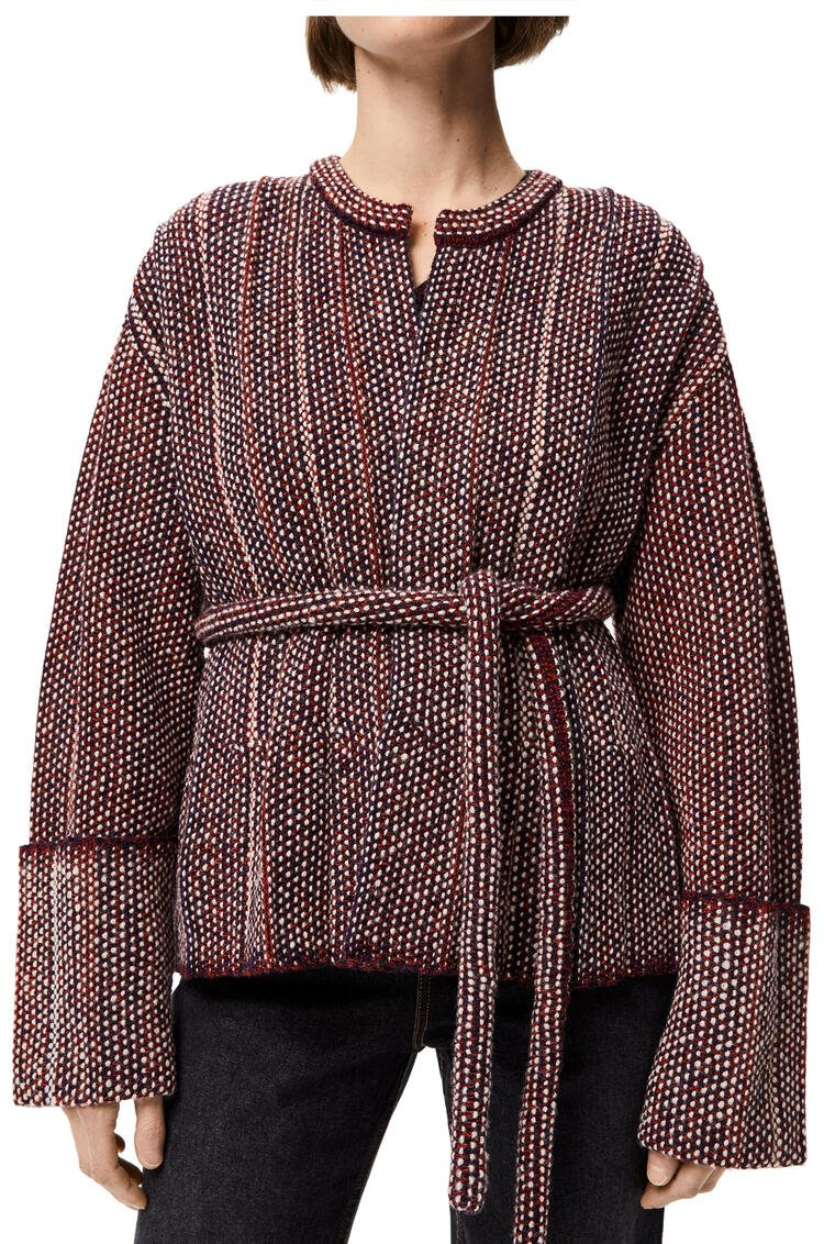 LOEWE Chaqueta plisada de punto de lana Burdeos/Marino pdp_rd