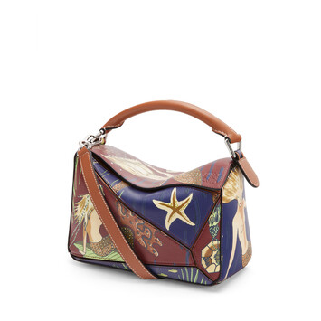 LOEWE Small Puzzle Bag In Mermaid Classic Calfskin Burgundy/Marine front