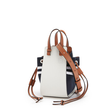 LOEWE Hammock Drawstring Sailor Mini Bag Deep Blue/Soft White front