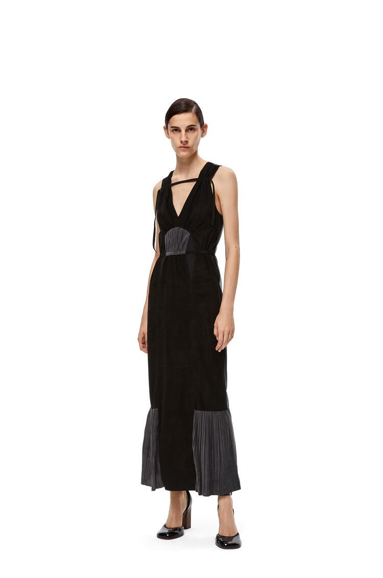 LOEWE Vネック スリーブレス ドレス(スエード) ブラック/グレー pdp_rd