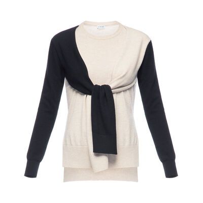 LOEWE Shoulder Sleeve Sweater Black/Beige front