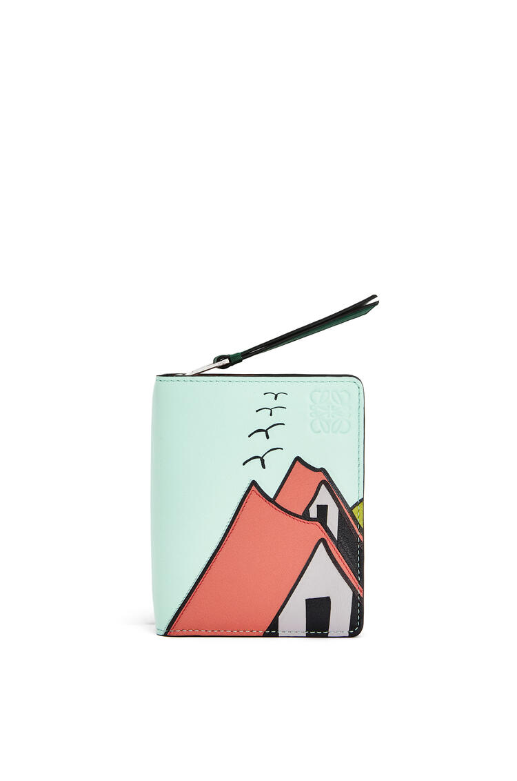 LOEWE La Palme compact zip wallet in classic calfskin Pink Tulip/Multicolor pdp_rd