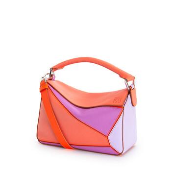 LOEWE Small Puzzle Bag In Classic Calfskin Grapefruit/Mauve front